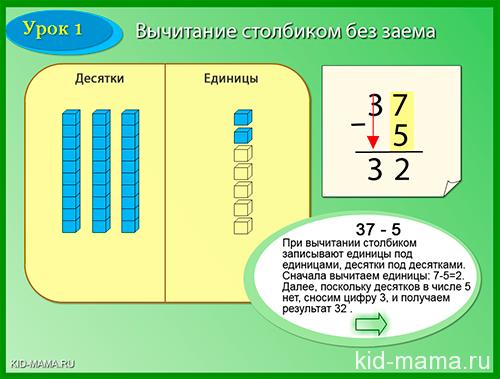 """математическая онлайн игра """"вычитание столбиком"""""""