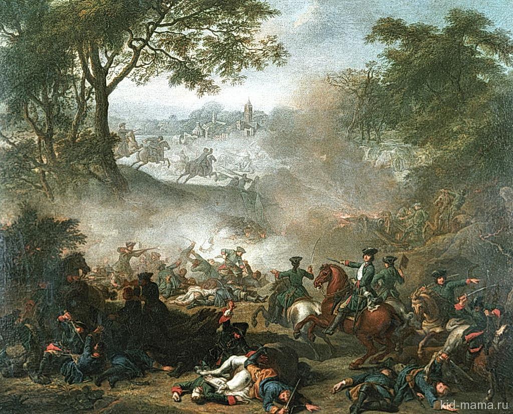 Битва при Лесной 1708 г. Картина Ж. М. Наттье, 1717