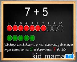 Сложение чисел с переходом через десяток. Обучающая игра