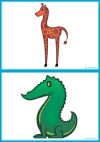 """Карточки для малышей """"Животные"""" - жираф и крокодил"""