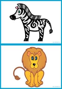 """Карточки для малышей """"Животные"""" - зебра и лев"""