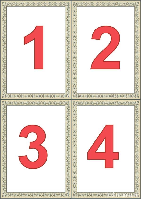 Карточки - Цифры от 1 до 10 - распечатать